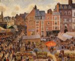 camille pissarro the fair dieppe sunny afternoon painting