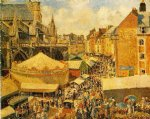 camille pissarro the fair in dieppe sunny morning painting
