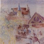 camille pissarro watercolor paintings - the farm osny by camille pissarro