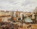 camille pissarro watercolor paintings - the fishmarket dieppe grey weather morning by camille pissarro