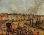 camille pissarro watercolor paintings - the fishmarket dieppe ii by camille pissarro