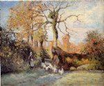 camille pissarro the goose girl at montfoucault white frost painting