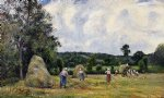 camille pissarro the harvest at montfoucault ii painting