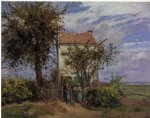 camille pissarro watercolor paintings - the house in the fields rueil by camille pissarro
