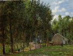 camille pissarro watercolor paintings - the house in the forest by camille pissarro