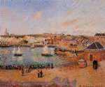 camille pissarro the inner harbor dieppe afternoon sun low tide painting