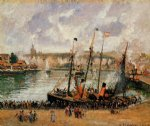 camille pissarro the inner harbor dpeppe high tide morning grey weather painting