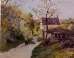 camille pissarro the large walnut tree at l hermitage paintings-36442