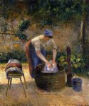 camille pissarro the laundry woman painting
