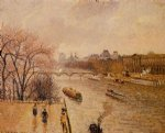 camille pissarro the louvre afternoon rainy weather paintings