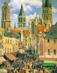 camille pissarro the old market at rouen posters