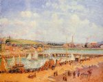 camille pissarro the port of dieppe the dunquesne and berrigny basins high tide sunny afternoon paintings