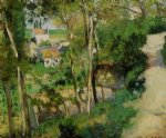 camille pissarro watercolor paintings - the rising path pontoise by camille pissarro