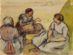 camille pissarro three peasant women art