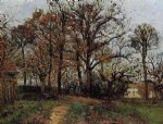 camille pissarro trees on a hill autumn landscape in louveciennes paintings-36524