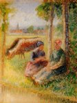 camille pissarro two cowherds by the river art