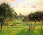 camille pissarro two women in a meadow sunset at eragny art