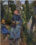 camille pissarro two young peasants chatting under the trees paintings-36531