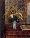 camille pissarro vase of flowers tulips and garnets painting