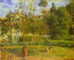 camille pissarro vegetable garden at l hermitage near pontoise painting