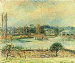 camille pissarro view of bazincourt flood morning effect paintings
