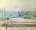 camille pissarro view of bazincourt frost morning paintings