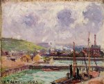 camille pissarro view of duquesne and berrigny basins in dieppe paintings