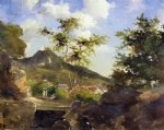 camille pissarro village at the foot of a hill in saint thomas antilles paintings