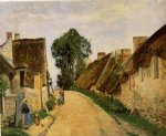 street original paintings - village street auvers by camille pissarro