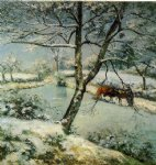 camille pissarro winter at montfoucault ii art
