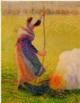camille pissarro woman burning wood art