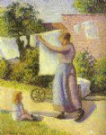 camille pissarro woman hanging laundry painting