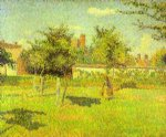 camille pissarro woman in an orchard spring sunshine in a field eragny painting
