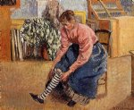 camille pissarro woman putting on her stockings painting
