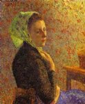 camille pissarro woman with a green scarf painting