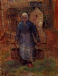 camille pissarro woman with buckets painting