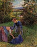 camille pissarro women gathering grass painting