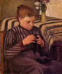 camille pissarro young girl mending her stockings paintings