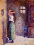 camille pissarro young peasant at her toilette paintings
