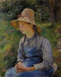 camille pissarro young peasant girl wearing a hat paintings