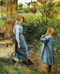 camille pissarro young woman and child at the well painting