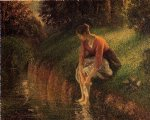 camille pissarro young woman bathing her feet painting