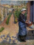 camille pissarro young woman washing plates painting