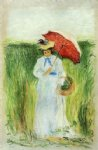 camille pissarro young woman with an umbrella painting