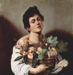 caravaggio art - boy with a basket of fruit by caravaggio