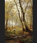 carl fredrik aagard print - a woodland scene with deer by carl fredrik aagard