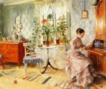 carl larsson famous paintings - an interior with a woman reading by carl larsson