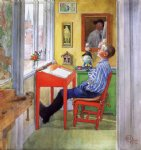 carl larsson famous paintings - esbjorn doing his homework ii by carl larsson
