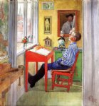 carl larsson famous paintings - esbjorn doing his homework by carl larsson