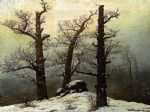 caspar david friedrich acrylic paintings - dolmen in the snow by caspar david friedrich